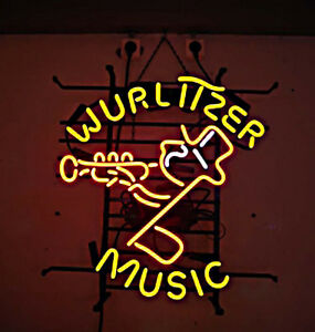 Wurlitzer Music Neon Sign Display Store Beer Bar Pub Real Neon Light Custom Z581