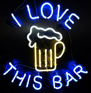 Love This Bar Neon Sign Display Beer Bar Pub Mancave Garage Real Neon Light Z433