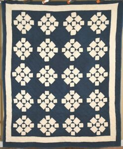 1880 S Blue White Rolling Stone Antique Quilt Deep Indigo Background