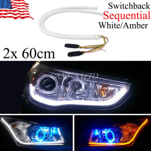 Pair Soft White Amber Led Drl Sequential Flow Types Turn Signal Light Tubes