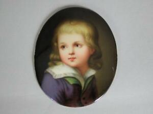19th C Dresden Porcelain Painted Portrait Plaque Max Sinz Artist Signed