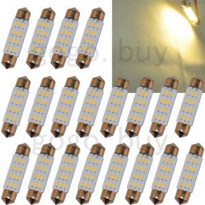 100 X Warm White 1 72 42mm 12 smd 3014 Dome Festoon Led Map Reading Light Bulb