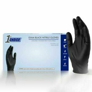1st Choice Black Medical Nitrile Exam Latex Free Disposable Gloves 1000 ct