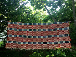 Early Antique Linsey Woolsey Overshot Coverlet Blanket Red White Blue 70x90