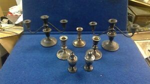 Lot Of Weighted Sterling Silver Candle Sticks Etc Scrap Dunchin