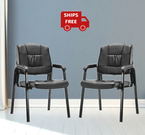 Set Of 2 Conference Reception Office Waiting Room Meeting Black Padded Arm Chair