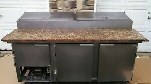 Leader 72 Refrigerated Pizza Sandwich Salad Prep Table Stone Top Included