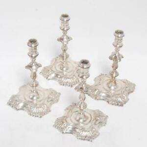 Set Of 4 Sterling Silver Candle Sticks Style Of George Ii For Sj Shrubsole Ny