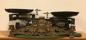 Vintage French Ornate Brass Bronze Trade Scale Roberval Balance 19th Century