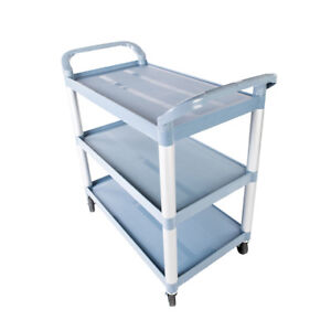 Portable Storage Utility Plastic Cart 3 Layer Structural Foam Plastic Shelf Us