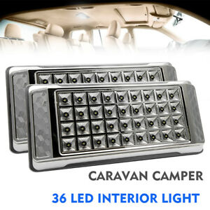 2 X 12v 36 Led Interior Ceiling Cabin Spot Light For Van Caravan Camper Boat