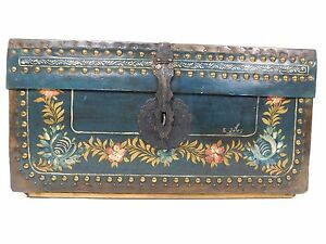 Antique Signed Painted Camphor Wood Brass Bound Leather Chest Trunk Floral Box 8