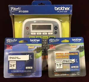 New Label Maker Brother P touch Home And Office Labeler pt d200 2 Tapes