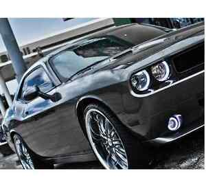 Round Led Halo Angel White Headlight And Fog Lights Combo Fits Dodge Challenger