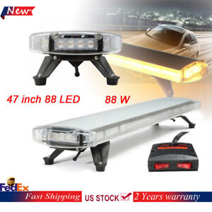 47 88w Led Amber Truck Work Light Bar Flashing Tow Beacon Strobe Warnining Lamp