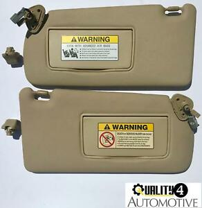2004 2008 Acura Tsx Tan Brown Oem Lighted Sunvisors Driver Side Pair W Clips