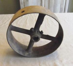 Vintage Cast Iron Flat Belt Pulley 9 1 4 X 2 7 8 Hit Miss Tractor Steam Engine