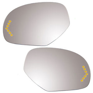 New Pair Power Side Mirror Glass Heated Signal Cadillac Gmc Chevy Pickup Truck