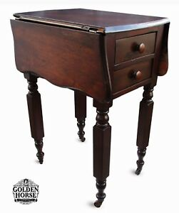 Antique Primitive Drop Leaf Side Accent End Table Two Drawers 1800 S