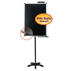 Justick 24w X 36h Black Lobby Stand Electro Dry erase Board With Clear Overlay
