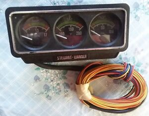 Vintage 1976 Stewart Warner Volts Water Oil Gauges Console Cluster Nice