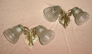 Old Pair Bronze Wall Sconces Frosted Crystal Tulip Shades 2 Lights Each Wired