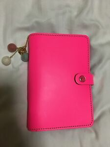 Filofax Personal Size Original Agenda Diary Fluoro Pink Leather Set Up Extras