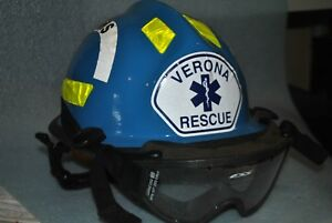 Cairns C mod Hp3 Fire And Rescue Helmet Blue W goggles Used