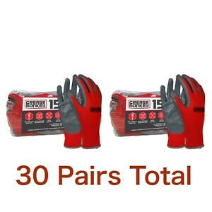 Lot 2 Grease Monkey Nitrile Coated Work Gloves Grey Red Big One Size 15 Pk