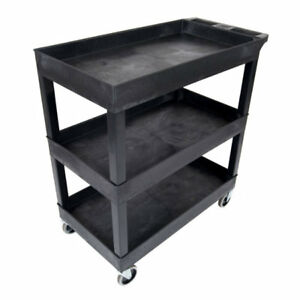 Utility Cart Wheels Heavy Duty Rolling Plastic Kitchen Organizing Wagon 3 Tier