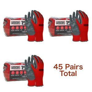 Lot 3 Pairs Grease Monkey Nitrile Coated Work Gloves Grey Red Big Large 15 Pk