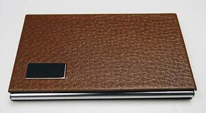 Business Name Card Holder Steel Leather Wrap Case Brown 3 Pack
