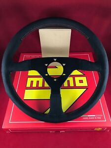 Momo Monte Carlo 350mm Black Alcantara Suede Red Stitch Steering Wheel Mcl35al3b