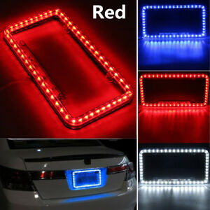 Universal Car Front Rear Number License Plate Frame Cover With Red 54 Led Light