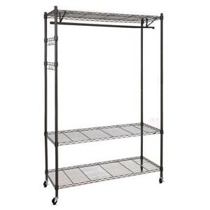 Single Rod Black gray Clothing Garment Rack Heavy Duty 3 Shelving Closet Es88 H