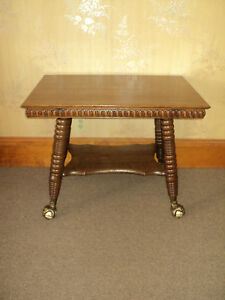 Antique Quarter Sawn Oak Parlor Sofa Hall Table Ball Claw Feet