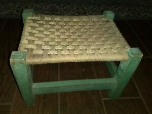 Antique Primitive Shaker Foot Stool Mortice Tenon W Old Green Paint