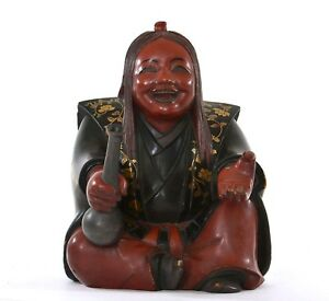 1930 S Japanese Makie Lacquer Samurai Figure With Sake Saki Bottle Okimono As Is