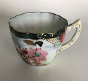 Vtg Antique Japanese Kutani Porcelain Tea Cup Coffee Chocolate Painted Scene