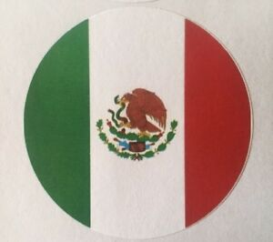 Mexico Flag Sticker World Cup 2018 Round Label Tags