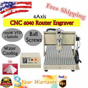 4 Axis Cnc 6040 Router Engraver 3d Spindle Cutting Milling Carving Machine 1500w