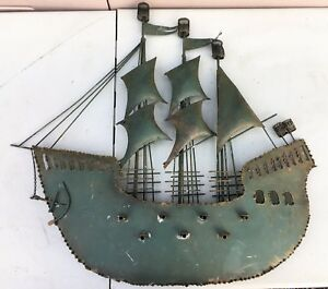 Metal Pirate Ship Galleon Sculpture 30 Wall Art Mid Century Mod Curtis Jere Era