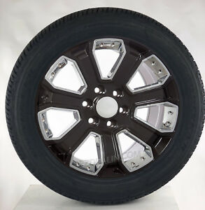 Chevy Silverado 22 Gloss Black W Chrome Tahoe Suburban Wheels Goodyear Tires