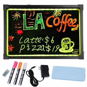 Flashing Illuminated Erasable Neon Led Message Writing Menu Board Sign W chain