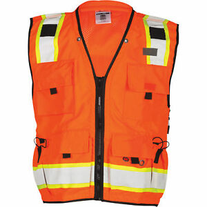 M L Kishigo Men s Class 2 High Vis Professional Surveyor s Vest orange Large