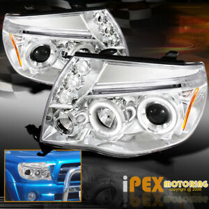For 2005 2011 Toyota Tacoma Brightest Halo Projector Led Chrome Headlights
