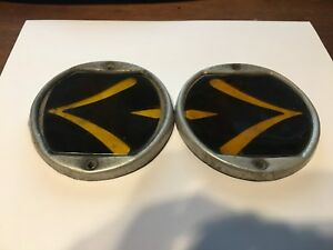 Pair Sparton Teleoptic Arrow Lens Gm Truck Turn Signal Lamp Vintage Glass Car