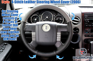 2006 Lincoln Mark Lt genuine Leather Steering Wheel Cover 2 tone Black gray