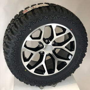 Chevy Silverado Tahoe Ltz 20 Black Machine Snowflake Wheels Rims M T Tires