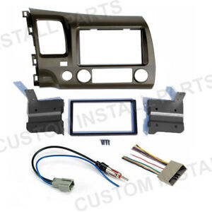 Taupe Double Din Car Radio Dash Kit W Wiring Harness For 2006 2011 Honda Civic